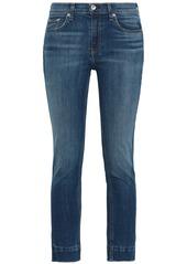 Rag & Bone Woman Cropped Faded Mid-rise Skinny Jeans Mid Denim