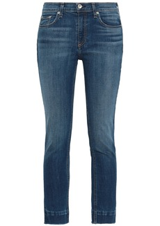 Rag & Bone Woman Cropped Faded Mid-rise Skinny Jeans Mid Denim