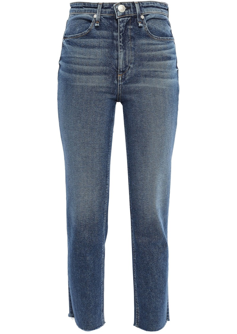 Rag & Bone Woman Cropped Frayed High-rise Slim-leg Jeans Mid Denim