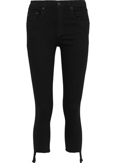 Rag & Bone Woman Cropped Frayed Mid-rise Skinny Jeans Black