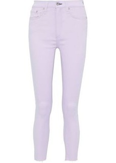 Rag & Bone Woman Cropped Frayed Mid-rise Skinny Jeans Lilac