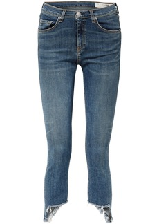 Rag & Bone Woman Cropped Frayed Mid-rise Skinny Jeans Mid Denim