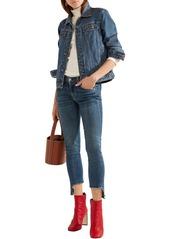 Rag & Bone Woman Cropped Frayed Mid-rise Skinny Jeans Mid Denim