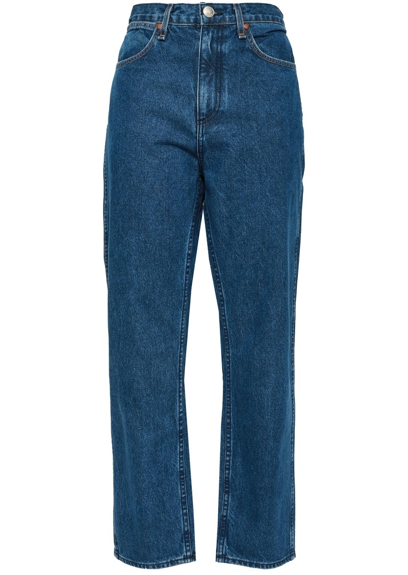 Rag & Bone Woman Cropped High-rise Straight-leg Jeans Mid Denim