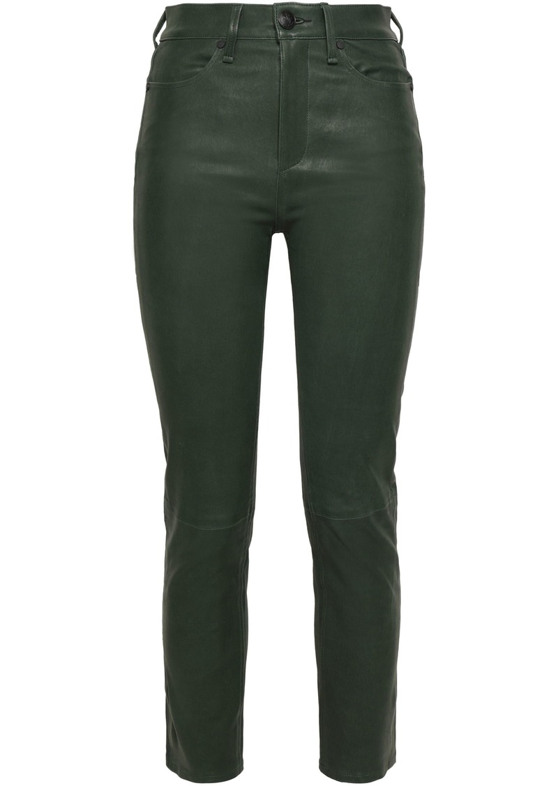 Rag & Bone Woman Cropped Leather Skinny Pants Leaf Green