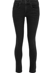 Rag & Bone Woman Cropped Mid-rise Skinny Jeans Black
