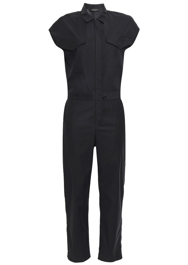 Rag & Bone Woman Cropped Poplin Jumpsuit Black
