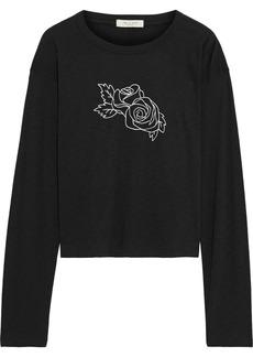 Rag & Bone Woman Cropped Printed Slub Organic Pima Cotton-jersey Top Black