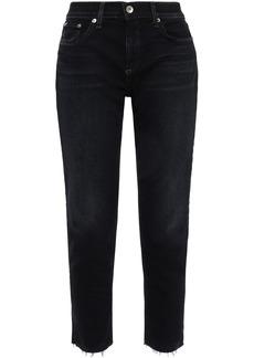 Rag & Bone Woman Ankle Dre Cropped Distressed Mid-rise Slim-leg Jeans Dark Denim