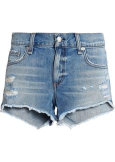 Rag & Bone Woman Cut Off Distressed Denim Shorts Mid Denim
