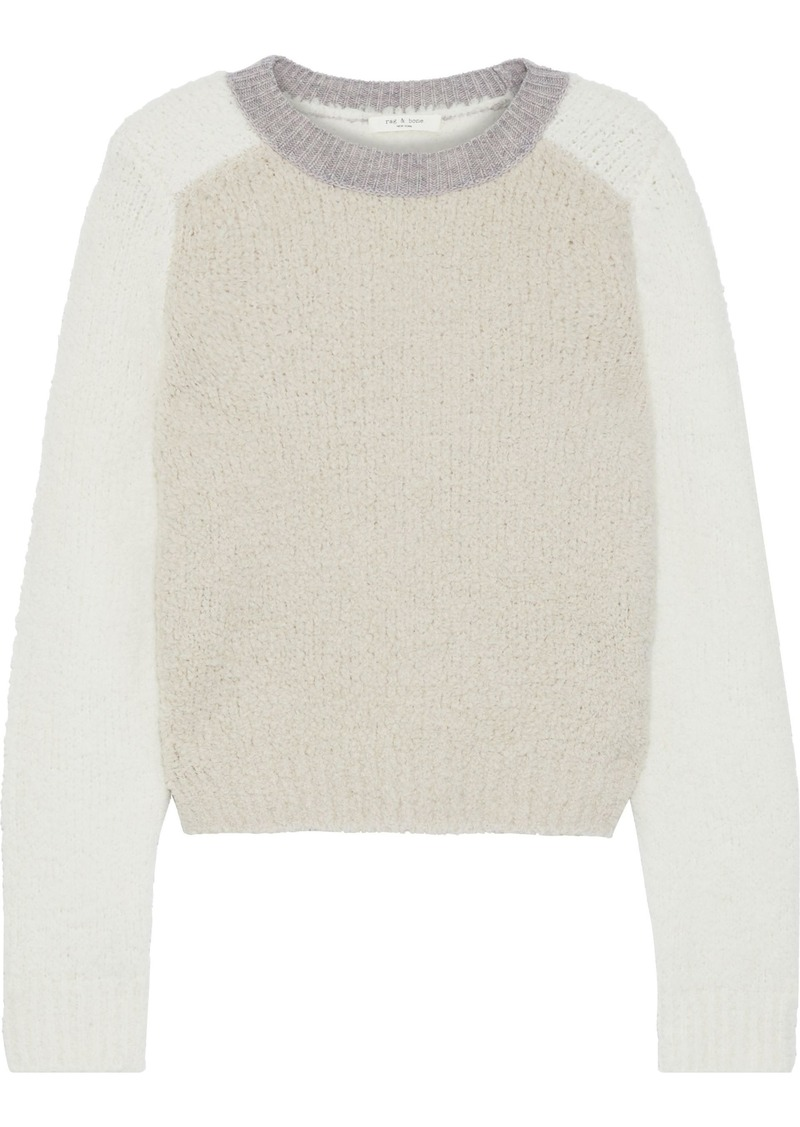 Rag & Bone Woman Davis Color-block Bouclé-knit Merino Wool-blend Sweater Ecru