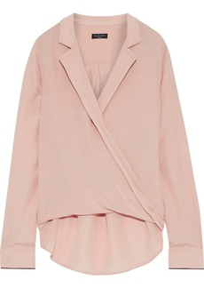Rag & Bone Woman Dean Wrap-effect Satin-crepe Top Blush