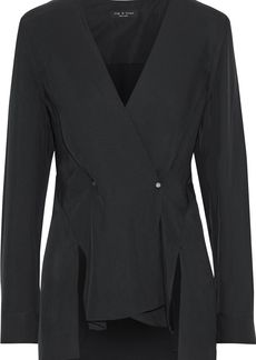 Rag & Bone Woman Debbie Wrap-effect Twill Blouse Black