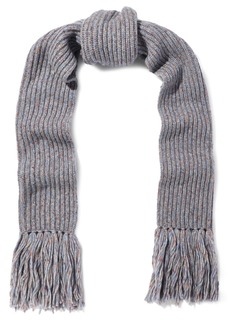 Rag & Bone Woman Devin Fringed Marled Ribbed Wool-blend Scarf Gray