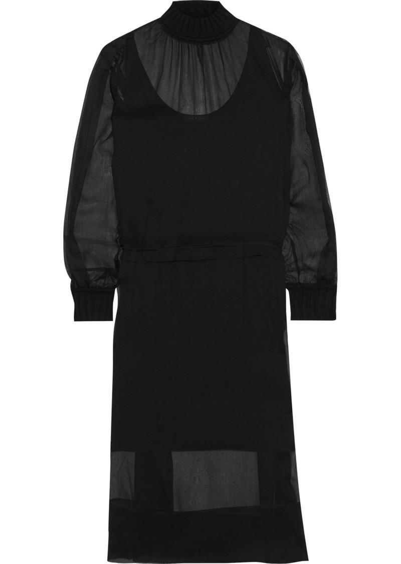 Rag & Bone Woman Dinah Gathered Silk-georgette Midi Dress Black