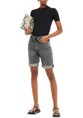 Rag & Bone Woman Distressed Denim Shorts Charcoal