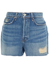 Rag & Bone Woman Distressed Denim Shorts Light Denim