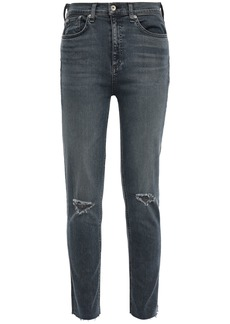 Rag & Bone Woman Distressed Faded High-rise Skinny Jeans Dark Denim