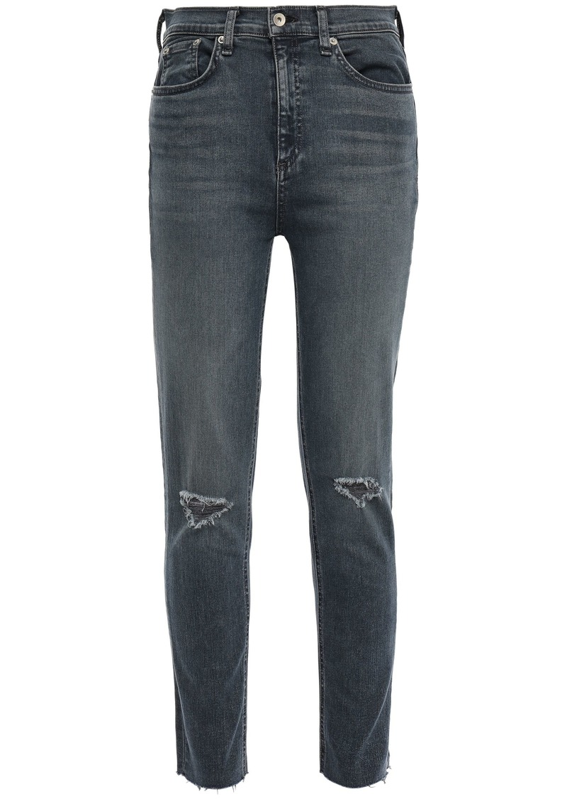 Rag & Bone Woman Distressed Faded High-rise Skinny Jeans Dark Denim