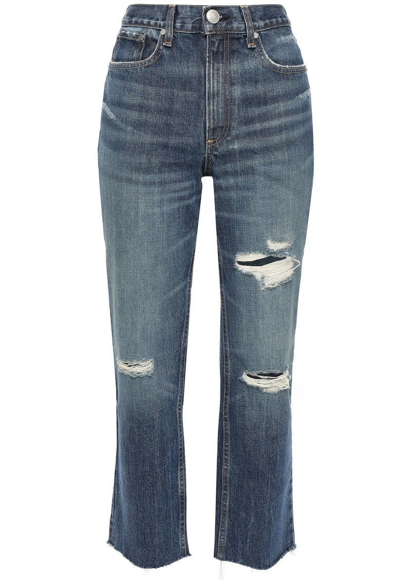 Rag & Bone Woman Distressed Faded High-rise Straight-leg Jeans Mid Denim