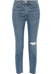 Rag & Bone Woman Distressed High-rise Skinny Jeans Mid Denim