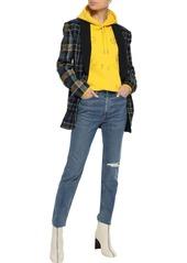 Rag & Bone Woman Distressed High-rise Skinny Jeans Mid Denim