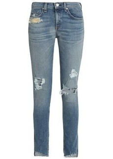 Rag & Bone Woman Distressed Mid-rise Skinny Jeans Mid Denim