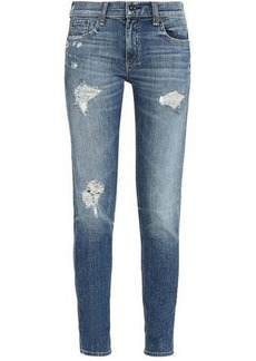 Rag & Bone Woman Distressed Mid-rise Slim-leg Jeans Light Denim