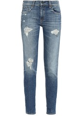 Rag & Bone Woman Distressed Mid-rise Slim-leg Jeans Light Denim