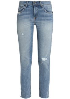 Rag & Bone Woman Distressed Mid-rise Slim-leg Jeans Mid Denim