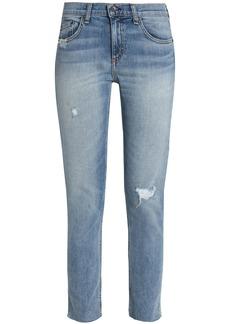 Rag & Bone Woman Distressed Mid-rise Slim-leg Jeans Mid Denim