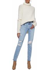 Rag & Bone Woman Distressed Mid-rise Straight-leg Jeans Light Denim