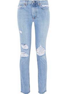 Rag & Bone Woman Distressed Mid-rise Straight-leg Jeans Light Denim