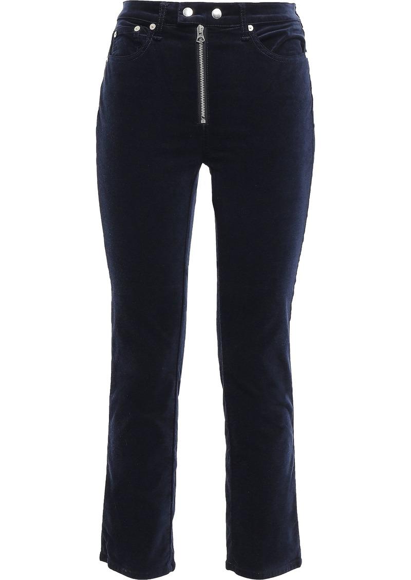 Rag & Bone Woman Dojo Cropped Cotton-blend Velvet Slim-leg Pants Midnight Blue