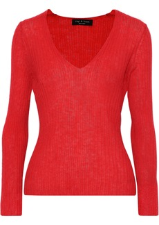 Rag & Bone Woman Donna Ribbed Mohair-blend Sweater Red
