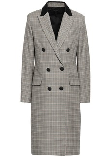 Rag & Bone Woman Double-breasted Prince Of Wales Checked Wool And Cotton-blend Coat Black