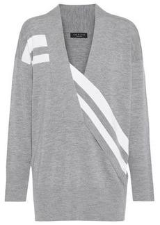 Rag & Bone Woman Draped Striped Merino Wool Sweater Gray