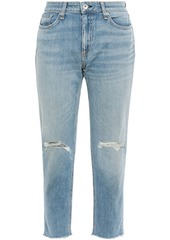 Rag & Bone Woman Dre Cropped Distressed Faded Boyfriend Jeans Light Denim