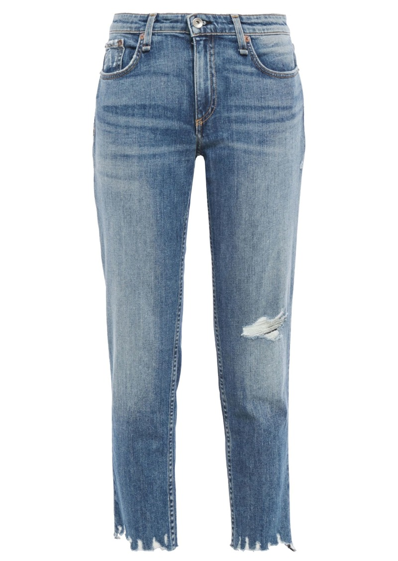 Rag & Bone Woman Dre Cropped Distressed Faded Boyfriend Jeans Mid Denim