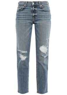 Rag & Bone Woman Dre Cropped Distressed Faded High-rise Straight-leg Jeans Mid Denim