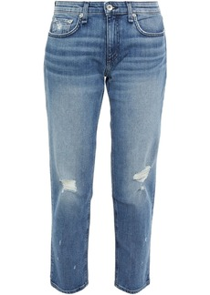Rag & Bone Woman Dre Cropped Distressed Mid-rise Boyfriend Jeans Mid Denim