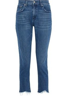 Rag & Bone Woman Dre Cropped Distressed Mid-rise Straight-leg Jeans Mid Denim
