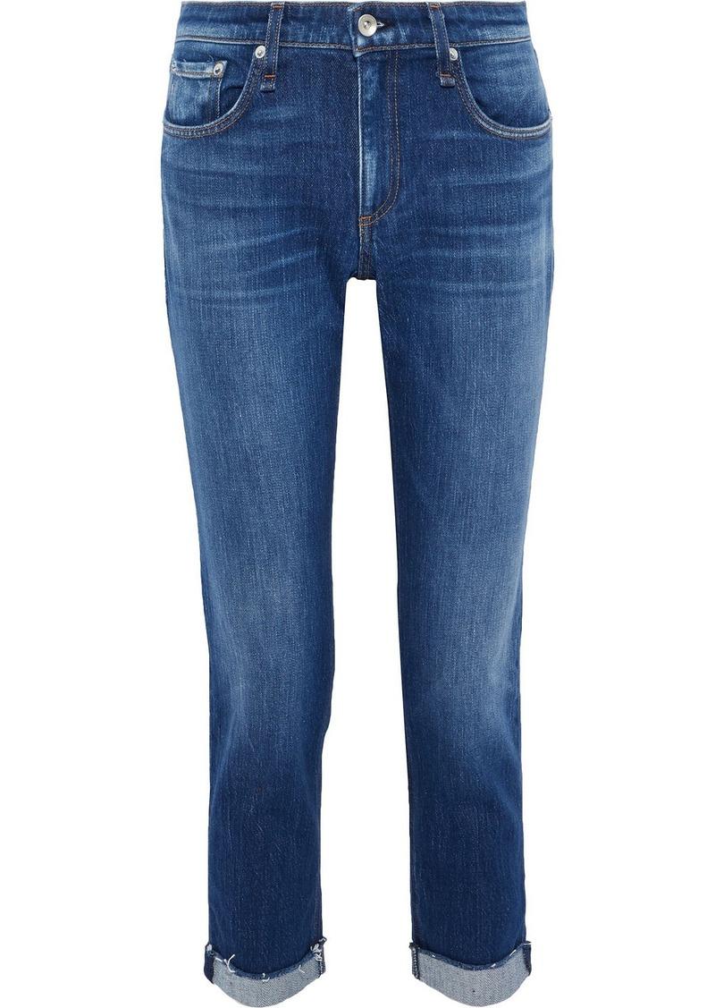 Rag & Bone Woman Dre Cropped Faded Mid-rise Slim-leg Jeans Mid Denim