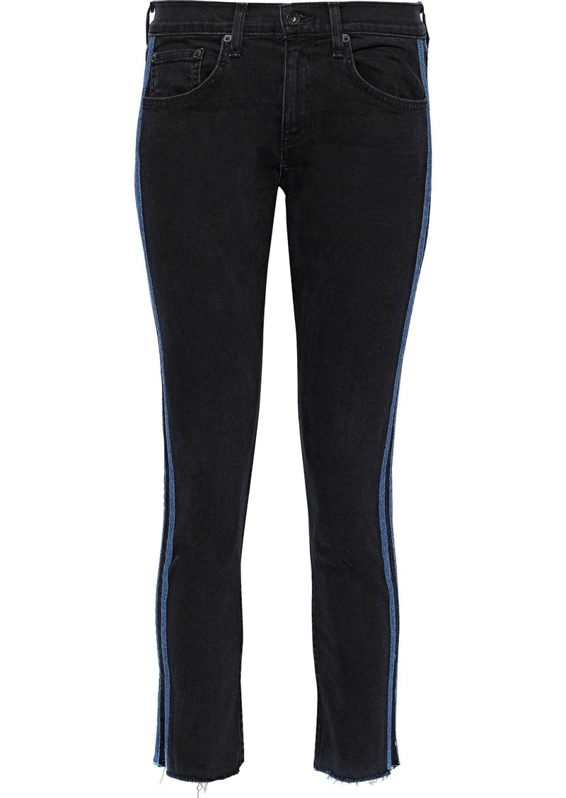 Rag & Bone Woman Dre Cropped Striped Mid-rise Skinny Jeans Black