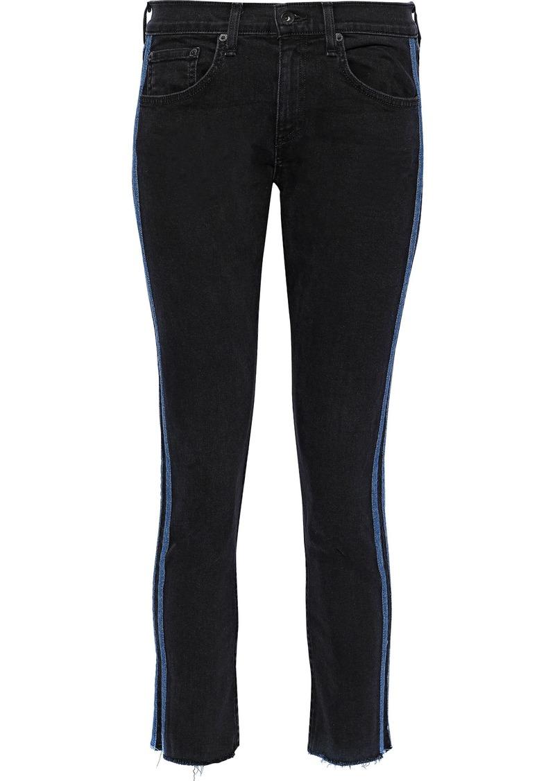 Rag & Bone Woman Dre Cropped Striped Mid-rise Skinny Jeans Black
