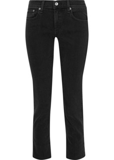 Rag & Bone Woman Dre Cropped Mid-rise Skinny Jeans Black
