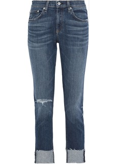 Rag & Bone Woman Dre Distressed Boyfriend Jeans Mid Denim