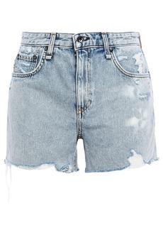 Rag & Bone Woman Dre Distressed Denim Shorts Light Denim