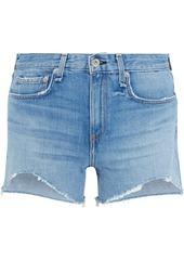 Rag & Bone Woman Dre Distressed Denim Shorts Mid Denim
