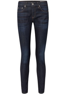 Rag & Bone Woman Dre Faded Mid-rise Slim-leg Jeans Dark Denim
